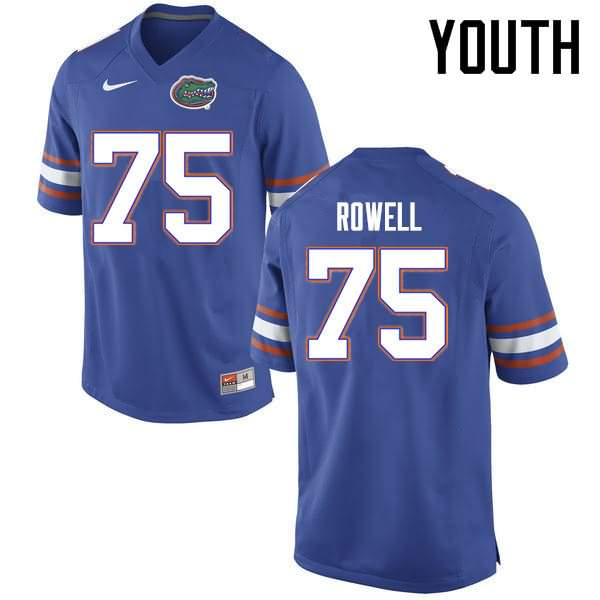 Youth Florida Gators #75 Tanner Rowell Blue Nike NCAA College Football Jersey PHH516CJ