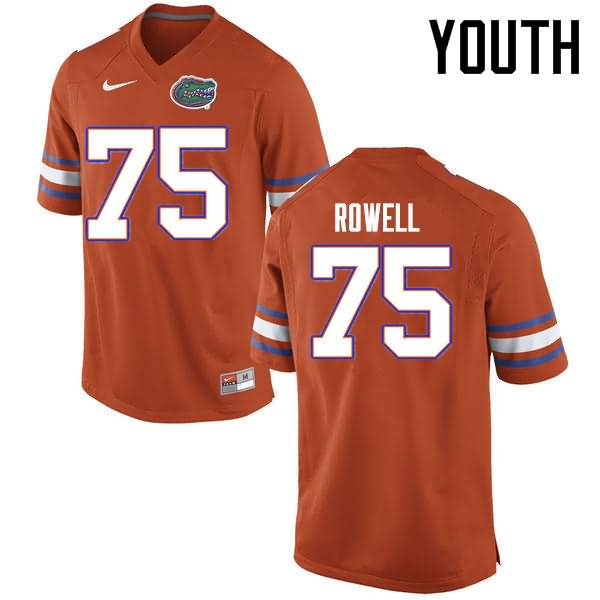Youth Florida Gators #75 Tanner Rowell Orange Nike NCAA College Football Jersey MEO155QJ