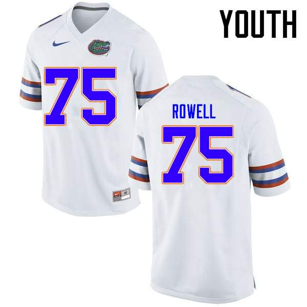 Youth Florida Gators #75 Tanner Rowell White Nike NCAA College Football Jersey SUQ284VJ