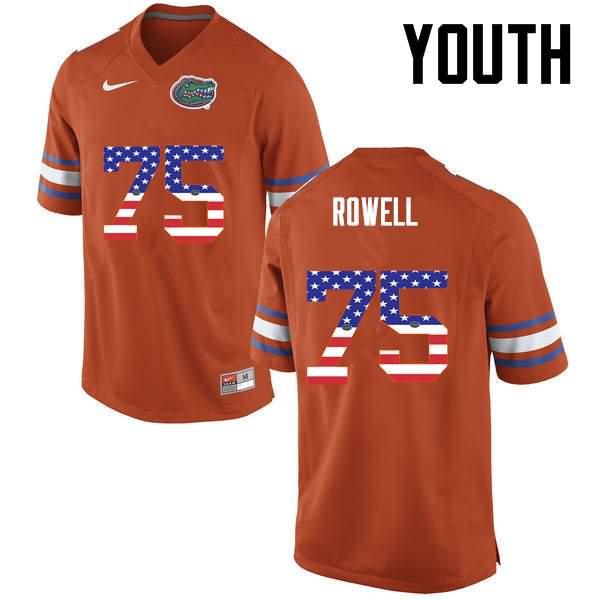 Youth Florida Gators #75 Tanner Rowell USA Flag Fashion Nike NCAA College Football Jersey WPC130RJ