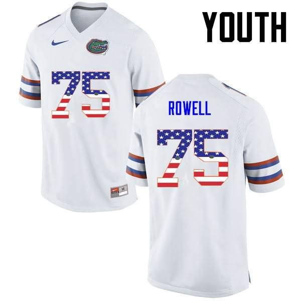 Youth Florida Gators #75 Tanner Rowell USA Flag Fashion Nike NCAA College Football Jersey IHL345EJ
