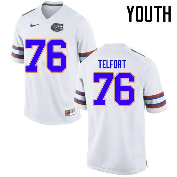 Youth Florida Gators #76 Kadeem Telfort White Nike NCAA College Football Jersey AJF718IJ