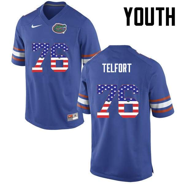 Youth Florida Gators #76 Kadeem Telfort USA Flag Fashion Nike NCAA College Football Jersey QYN362IJ