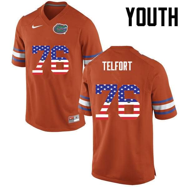 Youth Florida Gators #76 Kadeem Telfort USA Flag Fashion Nike NCAA College Football Jersey IGV165AJ