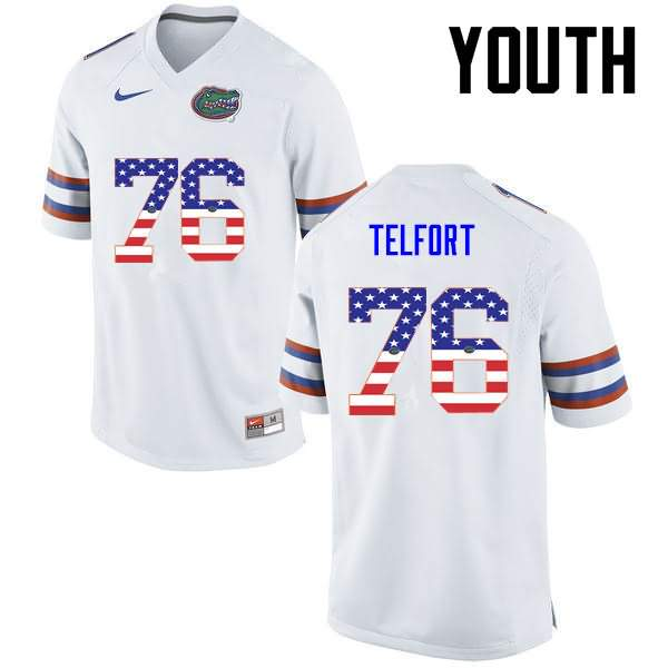 Youth Florida Gators #76 Kadeem Telfort USA Flag Fashion Nike NCAA College Football Jersey GMN618JJ