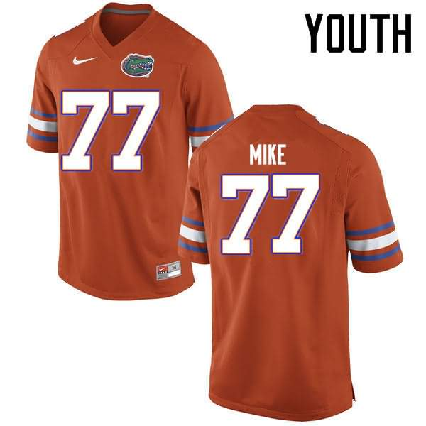 Youth Florida Gators #77 Andrew Mike Orange Nike NCAA College Football Jersey AYT065KJ