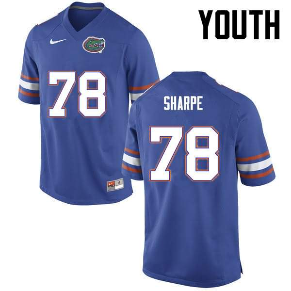 Youth Florida Gators #78 David Sharpe Blue Nike NCAA College Football Jersey XBZ617DJ