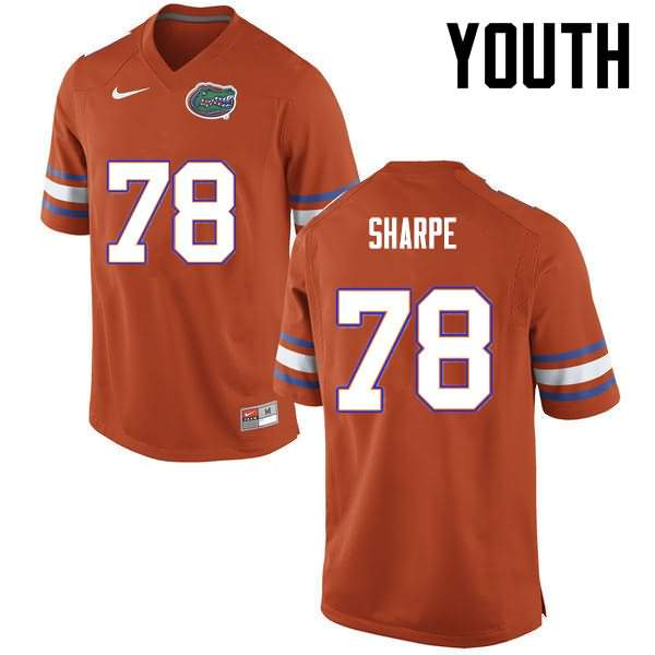 Youth Florida Gators #78 David Sharpe Orange Nike NCAA College Football Jersey GMQ675PJ