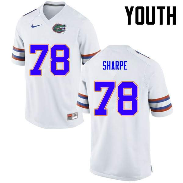 Youth Florida Gators #78 David Sharpe White Nike NCAA College Football Jersey NTM787IJ