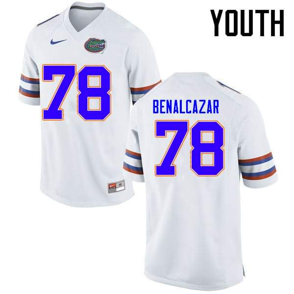 Youth Florida Gators #78 Ricardo Benalcazar White Nike NCAA College Football Jersey RII402PJ
