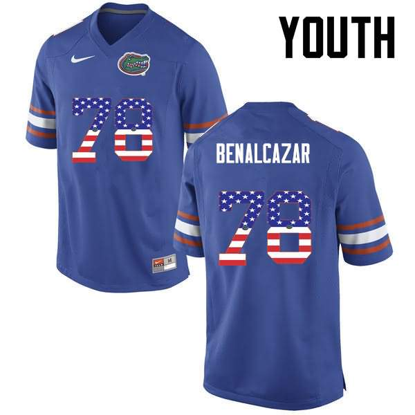 Youth Florida Gators #78 Ricardo Benalcazar USA Flag Fashion Nike NCAA College Football Jersey EFP720UJ