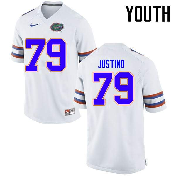 Youth Florida Gators #79 Daniel Justino White Nike NCAA College Football Jersey KQU182NJ