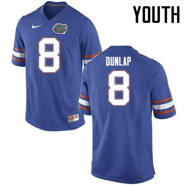 Youth Florida Gators #8 Carlos Dunlap Blue Nike NCAA College Football Jersey VRL324VJ