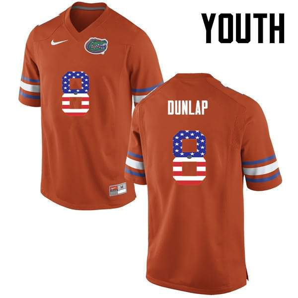 Youth Florida Gators #8 Carlos Dunlap USA Flag Fashion Nike NCAA College Football Jersey LXX338YJ