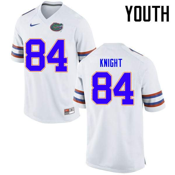 Youth Florida Gators #84 Camrin Knight White Nike NCAA College Football Jersey WYQ603VJ