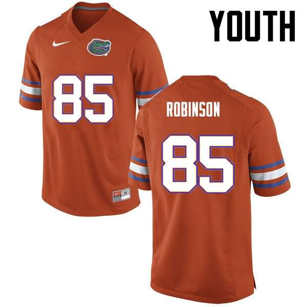 Youth Florida Gators #85 James Robinson Orange Nike NCAA College Football Jersey ATT360HJ