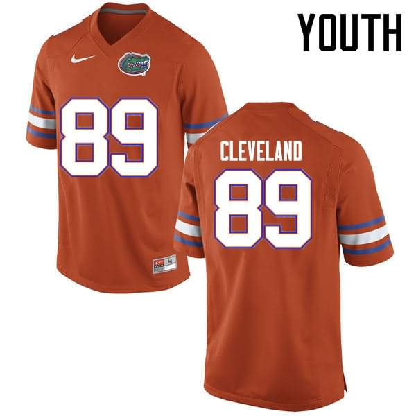 Youth Florida Gators #89 Tyrie Cleveland Orange Nike NCAA College Football Jersey MMO537YJ
