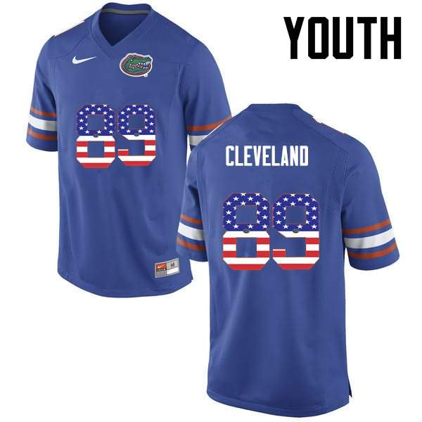 Youth Florida Gators #89 Tyrie Cleveland USA Flag Fashion Nike NCAA College Football Jersey FBI515XJ